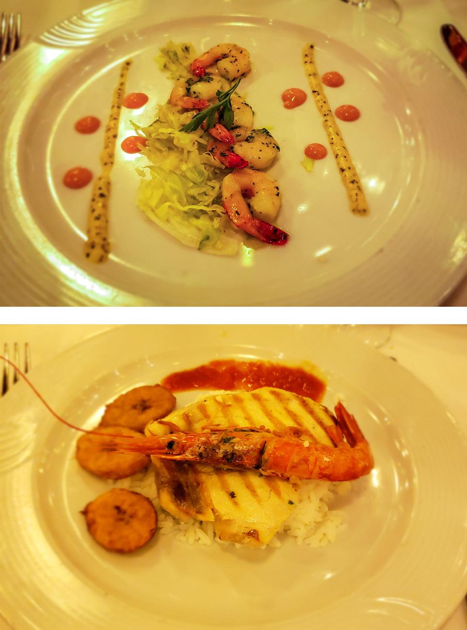 Pratos servidos nos jantares do Costa Favolosa