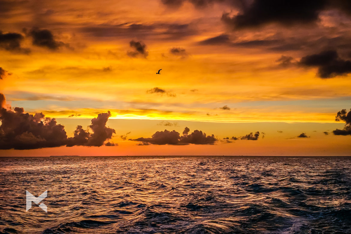 Pôr-do-sol visto de Key West, no sul da Flórida.
