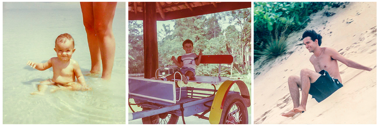 Sobre mim e a missão do Mapa de Viajante: Na praia de Santos (1), em algum hotel fazenda (2) e em Natal (3).