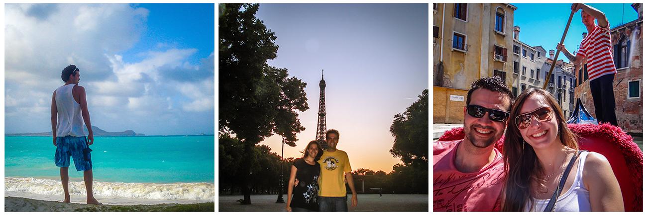 Sobre mim e a missão do Mapa de Viajante: Hawaii em 2006 (1), Paris com a minha irmã em 2009 (2) e em Veneza com a Thais em 2013 (3).