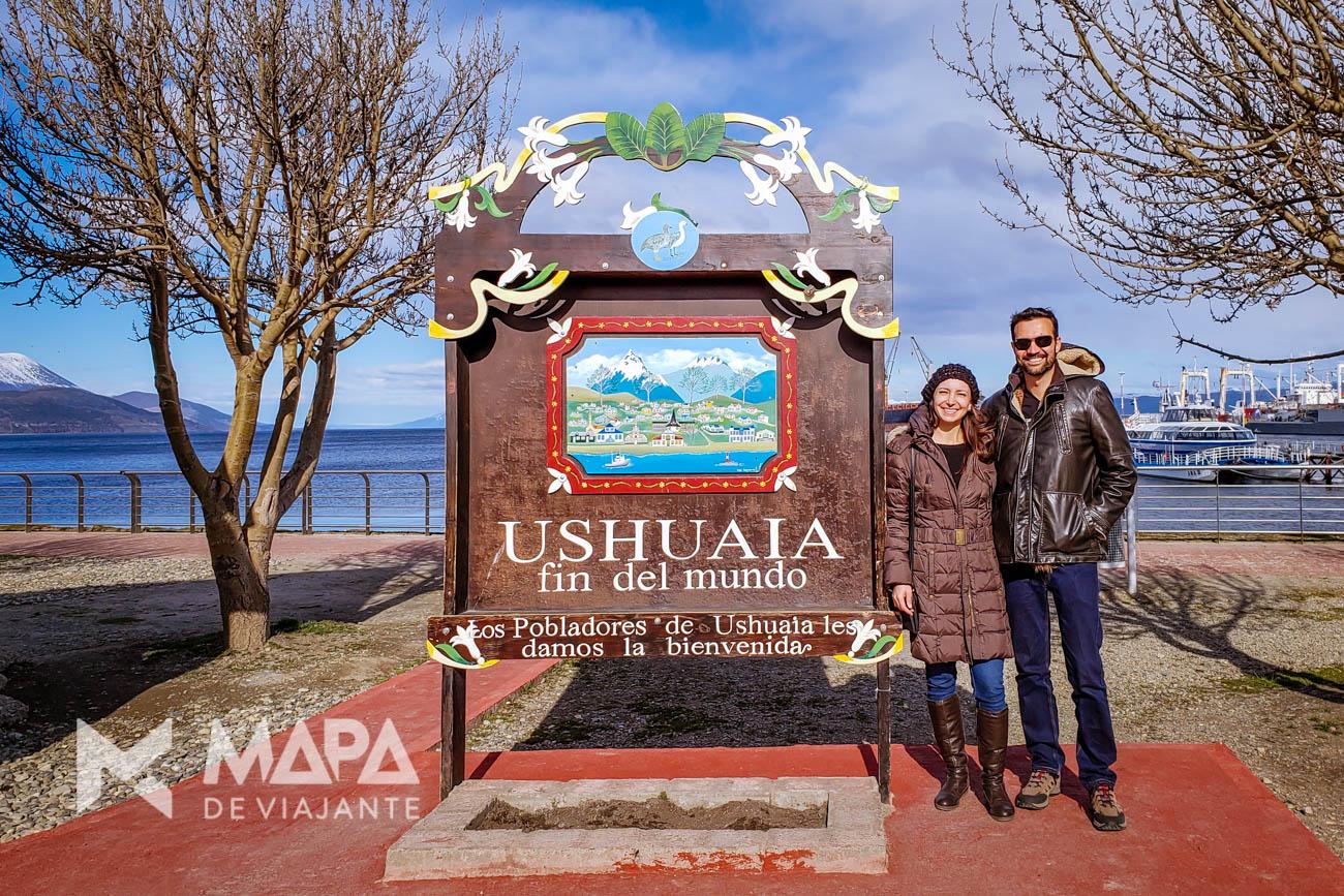 Uma das placas indicando o 'fim do mundo' no Ushuaia