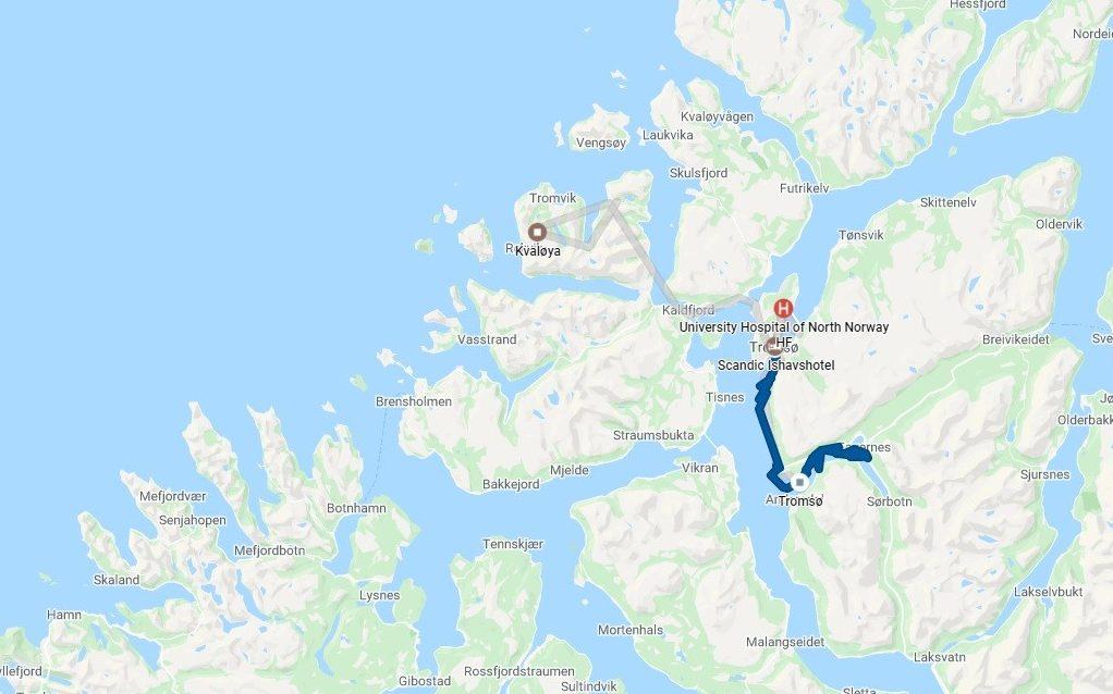 Mapa Tromso Noruega Fiordes