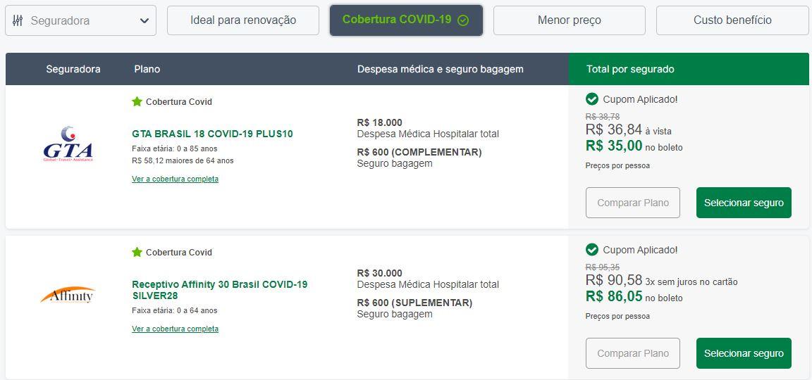 Seguro Viagem Cobertura Covid-19 Nacional Brasil