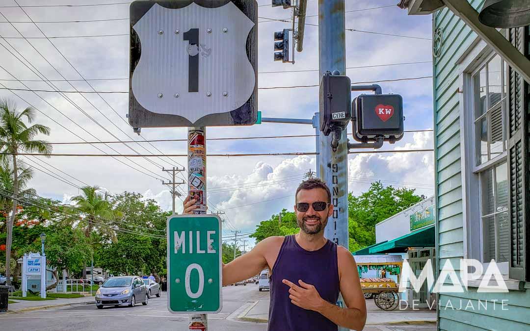 Mile 0 Route 1 Milha zero Florida Keys